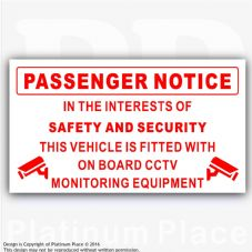1 x Passenger Notice-On Board CCTV Monitoring-Safety,Security,Taxi,Minibus,Cab-Red/White